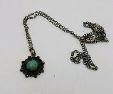 SOUTHWESTERN STERLING SILVER AND TURQUOISE PENDANT NECKLACE