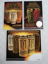 Original Java Monster Energy Drink Sticker Lot 2008 (3 Different Stickers)