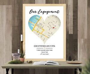 Personalised Location Map Print. Gift. Valentines Wedding Anniversary Engagement