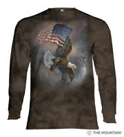 The Mountain Flag Bearing Eagle 100% Cotton Adult Long Sleeve Size L NWT
