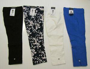 RAFAELLA Comfort Capris Pull On Black White Blue Floral 6  8 10 12 14 16 18 $58
