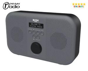 Bush Compact Portable Digital Stereo DAB & FM Radio With Alarm Clock - Grey
