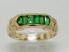 Tsavorit Ring 750 Gelbgold 18Kt Gold natürliche Tsavorite  8 Brillanten