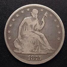 USA 1875 seated Liberty HALF DOLLARO 50 cent PHILADELPHIA ARGENTO RARO 1872