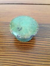 Primitive Antique Green Teal Painted Domed Round Wood Knob Cabinet Drawer Pull