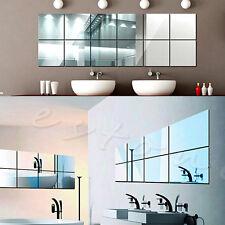 16Pcs Tiles Mirror Wall Stickers Mirror Decor Self-adhesive Decorative Mirrors