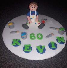 Edible handmade painter/ decorator birthday cake topper/decoration