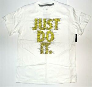 Nike Boys White Yellow Just Do It T-Shirt Size 8 Small NWT