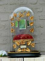 Antique Victorian Bridal wedding dome Globe Glass velvet