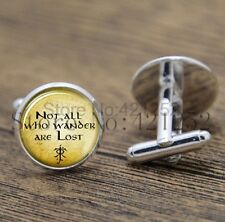 Cufflinks Glass Silver Not All Wander Are Lost New & Sealed