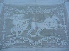 tapis de table tenture fait main ancien XIXème