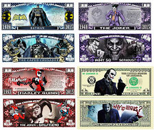 Batman and Joker Set (of 4) Million Dollar Bill Novelty Notes with Protectors