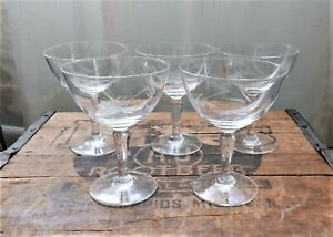 5 Vintage WHEAT PATTERN ETCHED STEMMED WINE CHAMPAGNE GLASSES