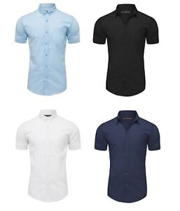 Mens Short Sleeve Shirts Button Down Casual Formal Slim Fit Shirt S M L XL PS20