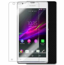 Skinomi Carbon Fiber Black Skin+Clear Screen Protector Cover for Sony Xperia SP