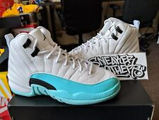 9ccb26c8437 Nike Air Jordan Retro XII 12 White Light Aqua Black Green GS GG Teal 510815-
