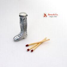 Antique Match Case Safe Figural Boot Sterling Silver 1901