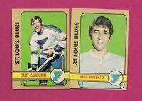 1972-73 OPC BLUES PHIL ROBERTO + GARY SABOURIN  EX-MT CARD (INV#2099)
