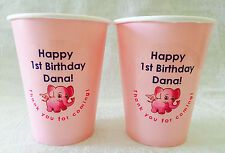 24 Personalized Pink hot/cold 9 oz. Cups for Baby Girl's 1st Birthday Party