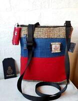 HARRIS TWEED SHOULDER BAG CROSSBODY RED BLUE DENIM HERRINGBONE FLORAL LINING