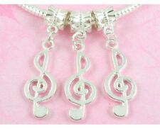 30pcs Silver Plated Musical Note Dangle Charms Fit Bracelet NY20