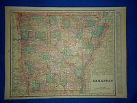 Vintage 1899 Atlas Map ~ ARKANSAS ~ Antique Original ~ Free S&H