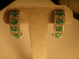 Gorgeous Estate 14K White Gold Emerald Diamond Hoop Hoops Earrings