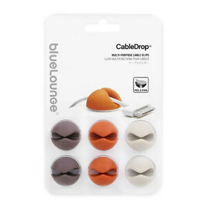 BlueLounge CableDrop Adhesive Cable Clips, Muted, Pkg/6