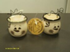 """2 Crazy Mountain Snowman candles new with tags 1 3/4""""t"""