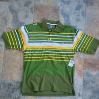 Academiks Men's Button-up Polo Shirt Size 2XL Green Yellow Striped Short Sleeve