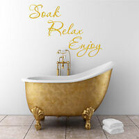 SOAK RELAX ENJOY Bathroom Wall Art Sticker Quote Decal Mural Transfer WSD592