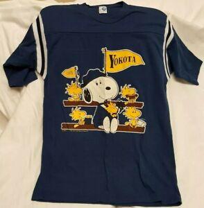 Vintage 80s Yokota Airbase Snoopy T Shirt Polycotton Artex Jostens Size Large