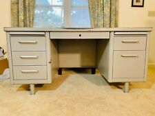 Vintage Steelcase Metal Tanker Desk