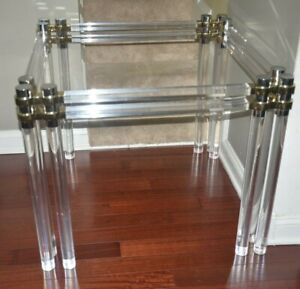 12 legged lucite and brass table base