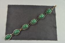 Armband Silber 925, rhodiniert, grüner Glasfluß, Faltschließe top erhalten!