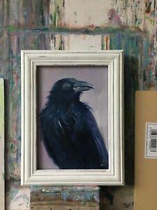 Original Oil Painting Flowers Bird  Raven  7x5 in Still life  Unframed