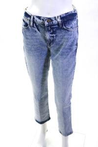 Frame Womens High Waist Acid Washed Straight Leg Jeans Blue Size 27