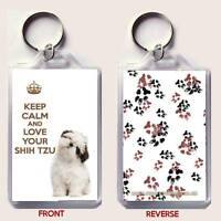 KEEP CALM and LOVE YOUR SHIH TZU with a Shih Tzu Image KEY RING Christmas Gift