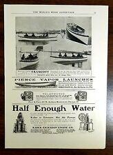 TRUSCOTT BOAT PIERCE VAPOR LAUNCHES RIDER-ERICSSON Oldsmoblie 1902 Advertisement