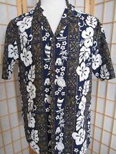 Mens Vtg ALOHA REPUBLIC Made n Hawaii Cotton Hawaiian Button Summer Shirt L