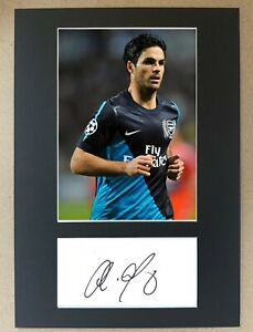 Mikel Arteta Hand Signed A4 Display Arsenal Everton Man City Spain Autograph EPL