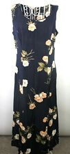 Cimmaron Ladies Floral Dress Size Medium Navy Blue Sleeveless Full Zip Semi Shee
