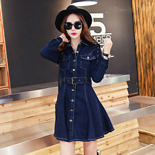 New Fashion Womens Washed Denim Dress Long Slim Casual Jean Dresses Belt