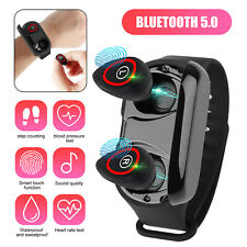 2 in 1 Smart Watch w/Tws Earbuds Wireless Ture Bluetooth 5.0 Headphone Wristband