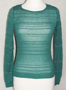 NEW ex Marks & Spencer GREEN/SILVER Long Sleeve Round-Neck Jumper Szs UK 8 to 14