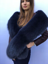 King Size Blue Fox Fur Stole 78' Inch. (200cm) Saga Furs Collar Blue Fur Boa