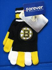 NEW Boston Bruins Gloves Mittens Ice Hockey NHL Knit Forever Collectibles Black