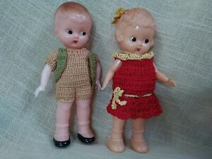 Vintage  Kewpie Dolls  x 2 Celluloid  Boy Girl  USA Hong Kong 14cm Tall