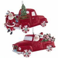Set/2 Kurt Adler Santa Mint Candy Red Truck Christmas Tree Ornament Retro Decor