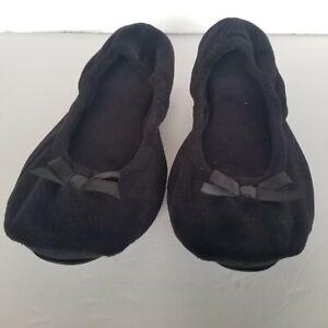 Dearfoam Women's Black Ballet Slippers XL (11-12)